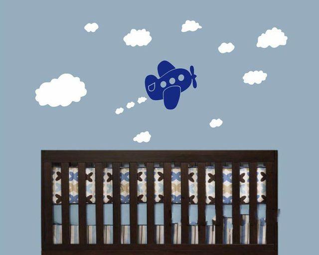 Leuke Babykamer Muurstickers : Leuke babykamer vliegtuig muursticker diy vliegtuig wolken nursery