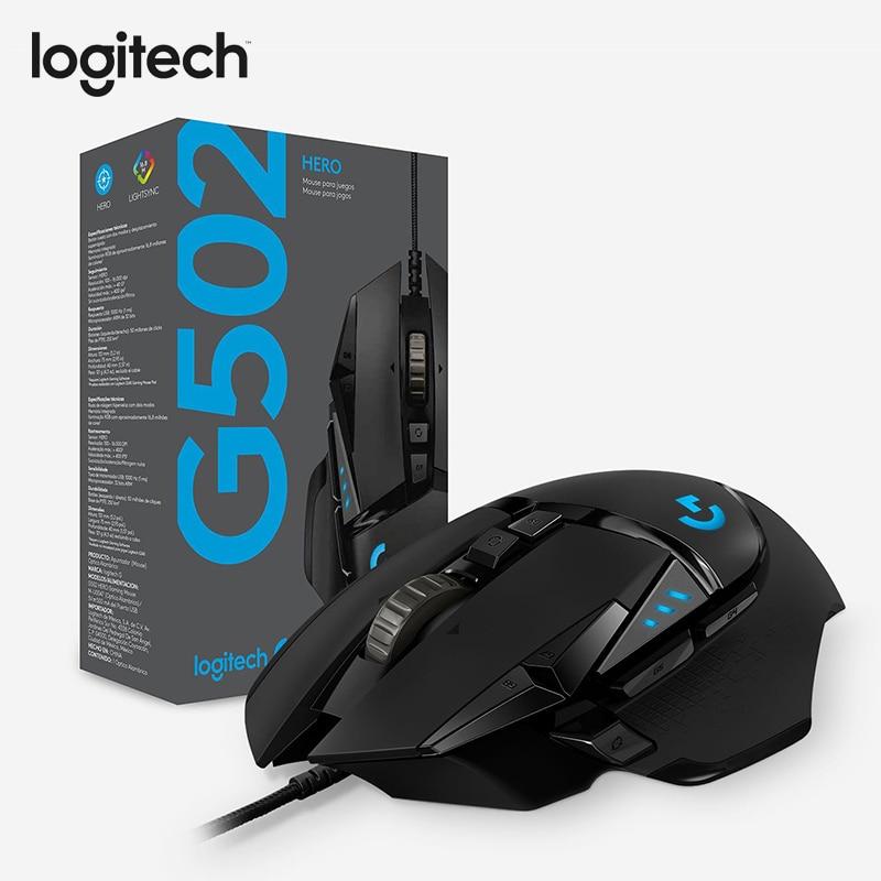 Souris de jeu Logitech G502 HERO avec capteur de héros 16,000 DPI LIGHTSYNC RGB Programmable réglable pour toutes les souris Gamer