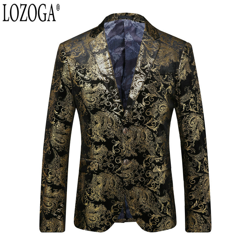 Blazers Men's Clothing Rapture Lozoga Fashion Men Blazer Suit Party Wedding Prom Toastmaster Jackets Velvet Luxury Designs Gold Blazers Slim Blazer Masculino