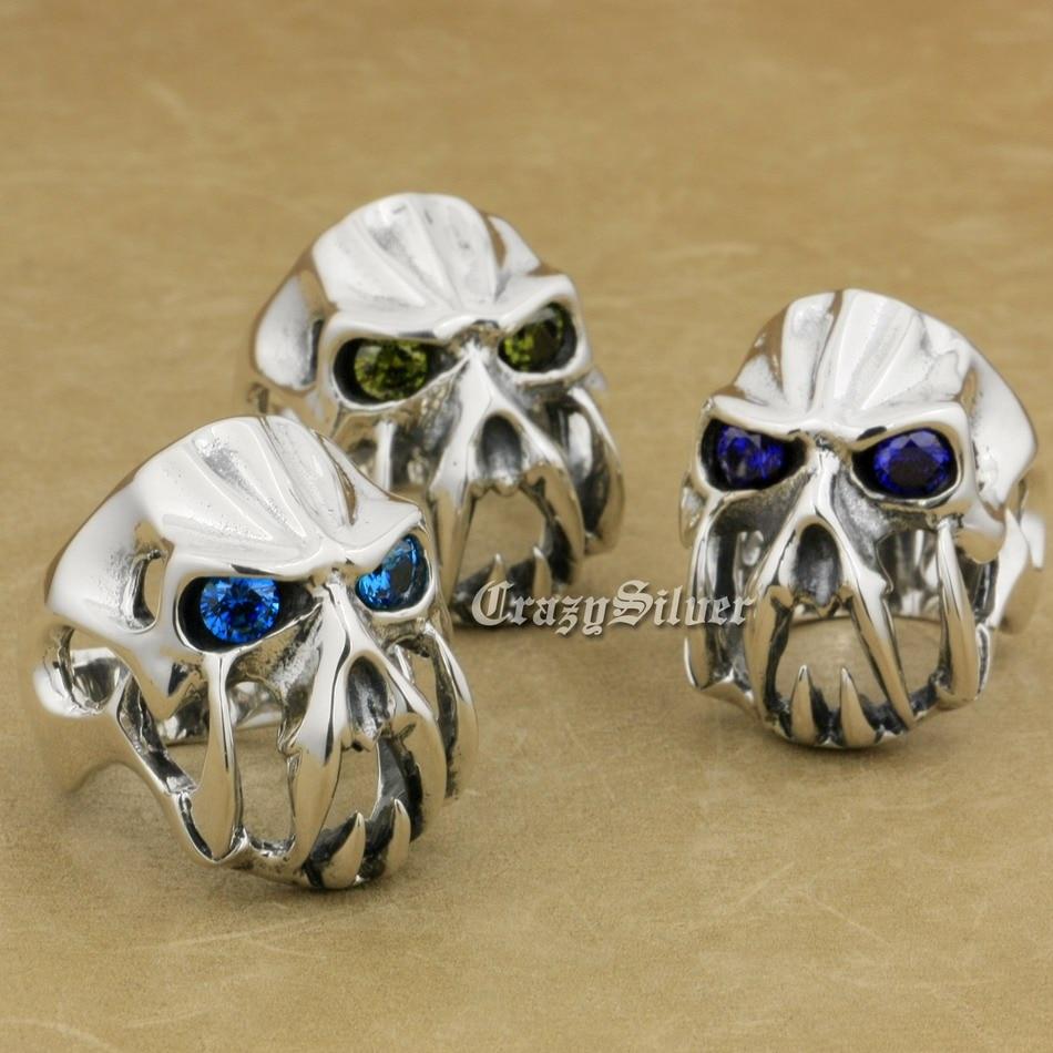 925 Sterling Silver Devil Alien CZ Eyes Skull Tiger Tooth Mens Biker Rocker Punk Ring 8V104 US Size 7.5 to 15 devil skull alloy biker ring