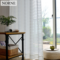 NORNE Modern Tulle Window Curtains For Living Room The Bedroom The Kitchen Cortina Rideaux Stripe Lace
