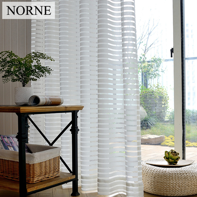 NORNE Decorative Semi White Striped Lace Sheer Curtain Voile Panels For Windows Living Room Kitchen Bedroom Curtains Draperies