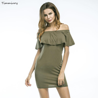 Timmiury Sexy Mini Bodycon Dress Slash Neck Ruffles Summer Dress Black Army Green Party Dresses Women