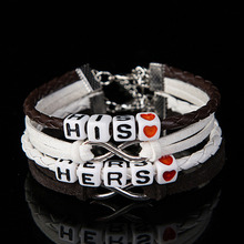 Lover Hers And His Charm Braided Leather Lovers' Bracelet Handmade Couple Bracelet Pulseras Mujer Bracciali Valentine's Day Gift