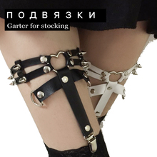 Fashion New Designed Punk Three Line Harajuku Heart Garter Belt 100% HANDCRAFT Leather Rivet Leg Loop Harness for women