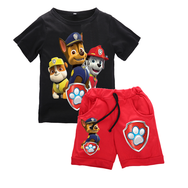 Summer Children Baby Boys Cartoon Clothes Sets Kids Character Short Sleeve Shirt Animal Printed Clothing Sets Child Sport Suits