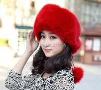 D50 Wholesale Female Male Winter Thicken Full Leather Back Fox Fur Skullies Beanies Hats Woman Man