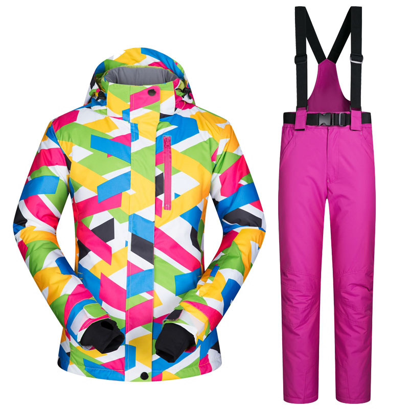 2017 New High Quality Women Ski Suit Female Snow Jacket And Pants Windproof Waterproof Colorful Clothes Snowboard Winter Dress free shipping the new 2017 gsou snow ski suit man windproof and waterproof breathable double plate warm winter ski clothes