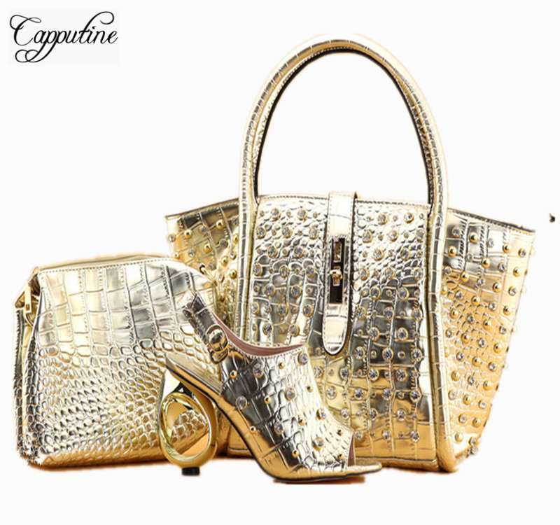 Фотография Capputine European Style PU Leather With Rivet Gold Color Pumps Shoes And Bag Set Italian Ladies Shoes And Bags Set For Party