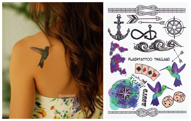 396 Hipster Favorite Temporary Body Tattoo Hummingbird Dice Rope Map ...