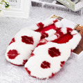 newest warm soft Red Lip indoor floor slippers winter cotton women antiskid cute Mules ladies plush flat shoes slipper