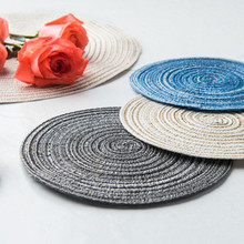 Round Ramie Anti-skid Heat Insulation Mat Dining mat POTS Plates Coasters Table Placemat for dining table