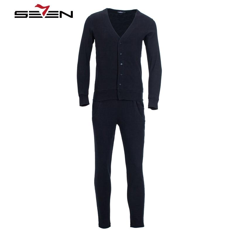 Seven7 hommes longs Johns sous-vêtements pour automne hiver maison porter respirant décontracté sous-vêtement thermique ensembles solide bouton 109G48170
