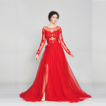Hijab Evening Dresses Long Sleeve Lace Appliques Prom Dress Formal Party Dress Detachable Tulle Skirt Evening Dresses On Sale