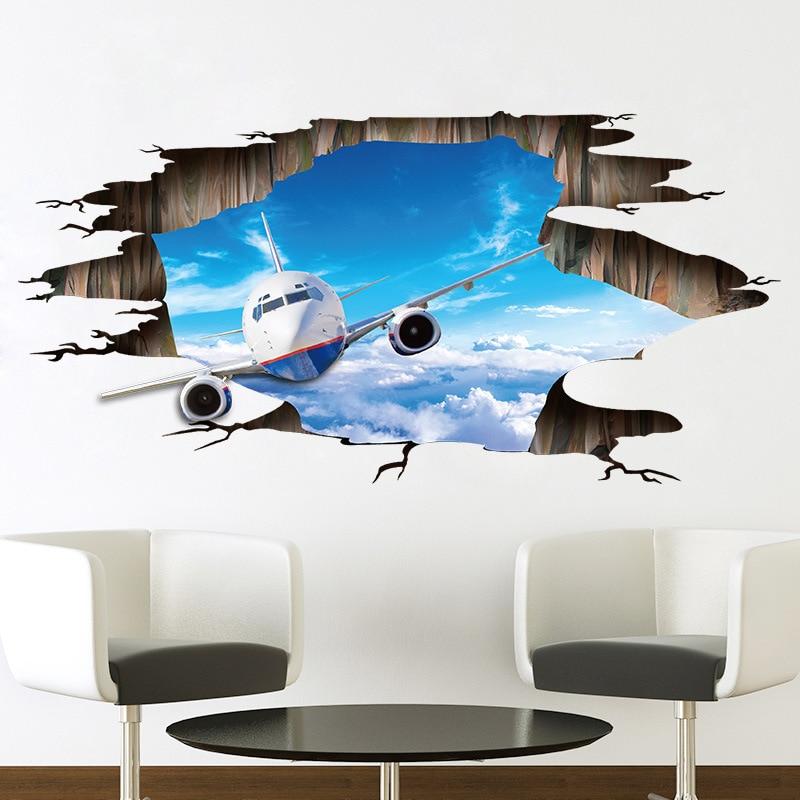 3D стены Стикеры S небо самолет пол Стикеры ПВХ росписи этаже гостиная спальня Home декоративные настенные Стикеры s