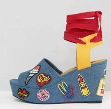 2017 verano nueva sandalia de cuña para mujer peep toe de mezclilla azul con cordones plataforma sandalia sexy bordado gladiador sandalia