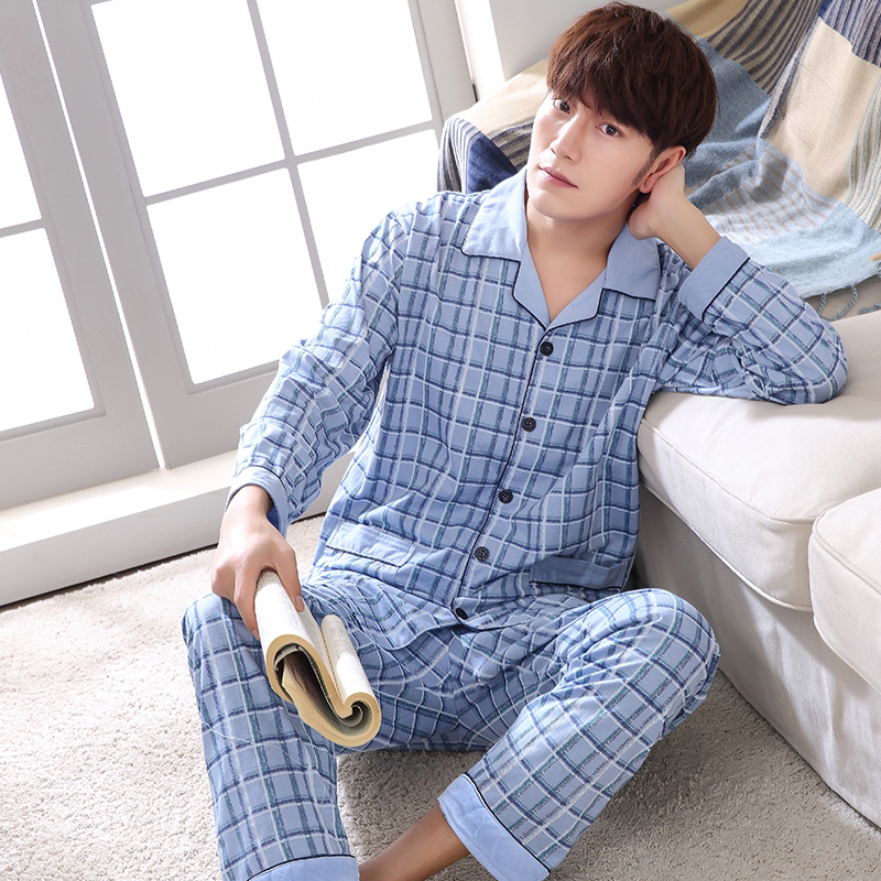 Plus Size M-4XL Autumn Winter Lounge Suit Men Plaid Pajama Sets Long Sleeve Pyjamas Topman Sky Blue Men's Clothing