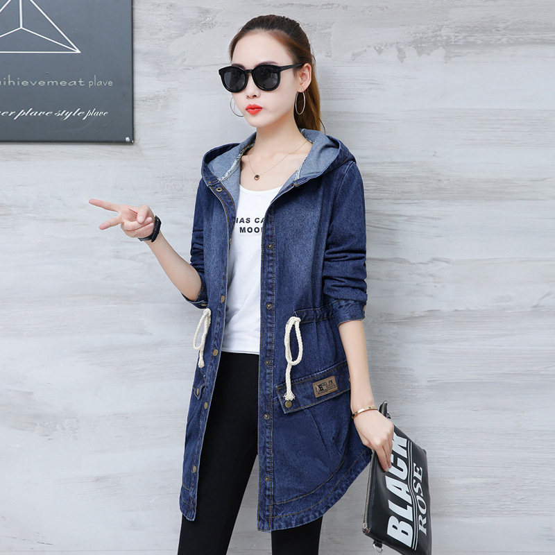 #3315 Spring Autumn Denim Jacket Women Hooded Loose Plus Size Lace Up Waist Asymmetrical Jeans Coat Long Elegant XXXL