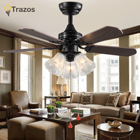 Trazo Black Vintage Ceiling Fan With Lights Remote Control Ventilador De Techo 220 Volt Bedroom Ceiling Light Fan Lamp E27 Bulbs