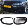 1 Par Preto Fosco Frente Rim Corrida Grills Grille Para BMW E60 E61 M5 Série 5 2003-2010 Car Styling Grades Auto Decoratiion