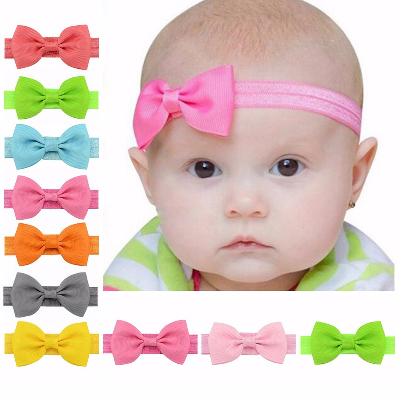 10Pcs Girls Kids Bowknot Headband Colorful Mini Elastic Hair Accessories