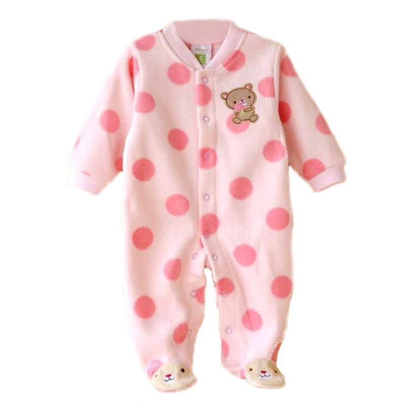 0-12M Autumn Fleece Baby Rompers Cute Pink Baby Girl Boy Clothing Infant Baby Girl Clothes Jumpsuits Footed Coverall MKBCROGL001 mother nest 3sets lot wholesale autumn toddle girl long sleeve baby clothing one piece boys baby pajamas infant clothes rompers