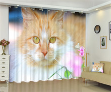 Cute cat Luxury 3D Blackout Curtains For Living room Kids Boys Bedding room Drapes Cotinas para sala Halloween Decorative