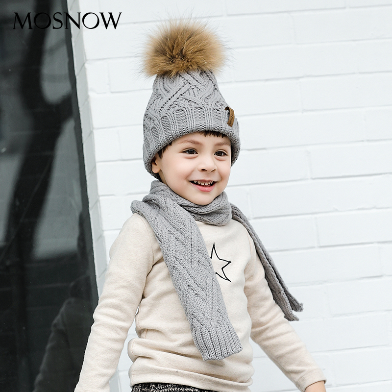 Boy Girl Hat And Scarf Set 2-6 Years Solid Cotton Knitted Winter Pompom Caps Boy Thick Warm Infinity Scarves #MZ852