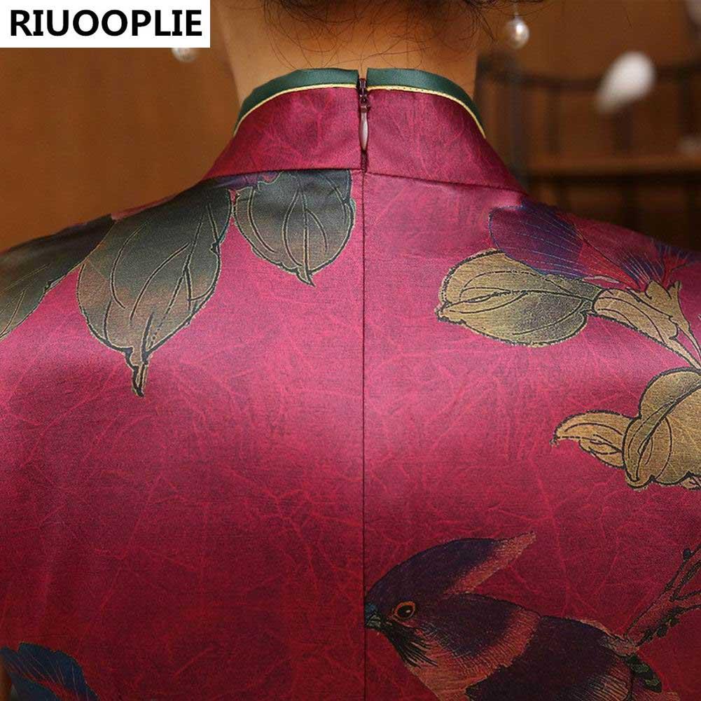 RIUOOPLIE Kinesisk Traditionell Klänning Mode Design Lång Cheongsam - Nationella kläder - Foto 6