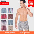 BXMAN 2017 100% Woven Cotton Plaid Striped Boxers Men Plus size M -XXXXL Underwear Mens underwear Slip homme boxer Shorts Mix Co