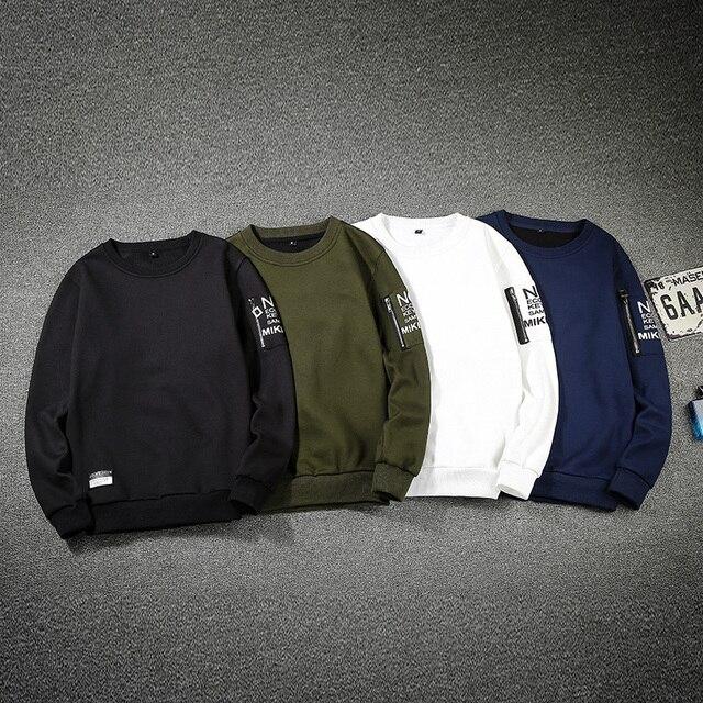Одноцветное Цвет пуловер с длинными рукавами рукавом Письмо печати Для МУЖЧИН Кофты на молнии Дизайн черный, белый цвет синий зеленый кофты