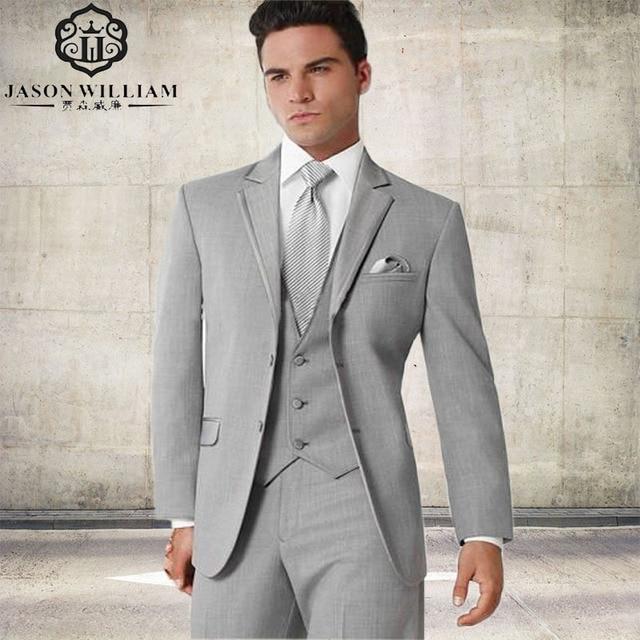 LN013 2017 Custom Made Groom Tuxedo silver Suit Best man Groomsman ...