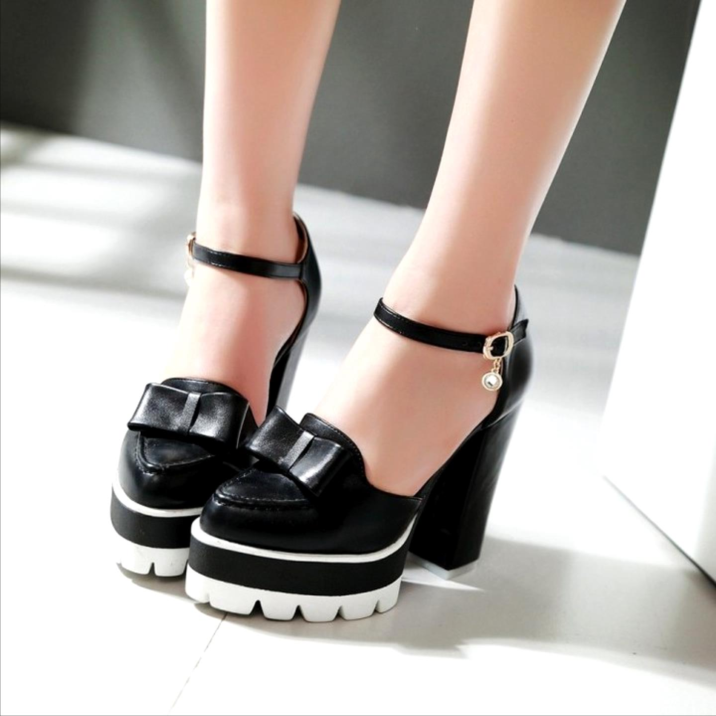 Big Size 32-43 Fashion Ankle Strap Sexy Pumps Platform High Heels Women Pumps Spring Summer Bowtie Wedding Party Shoes Woman big size 32 43 fashion party shoes woman sexy high heels platform summer pumps ankle strap sandals women shoes