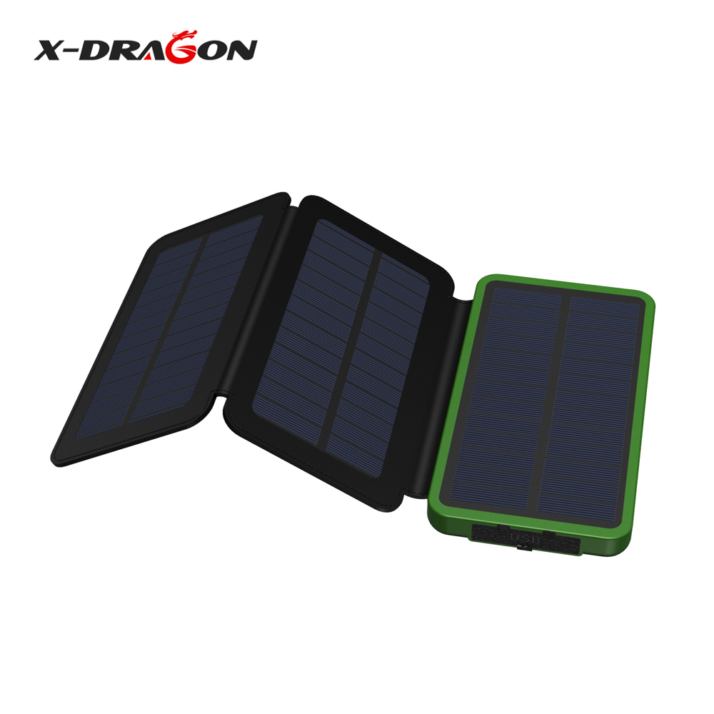 X-DRAGON 10000mAh Solar Power Bank Portable with LED Indicator Dual USB for iPhone 6 6s7 7s iPad Samsung Nokia Sony HTC.