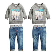 2pcs Baby Kids Boys Autumn Cotton Coat Shirt Sweater + Jeans Denim Pants Outfits Kids Clothing Set