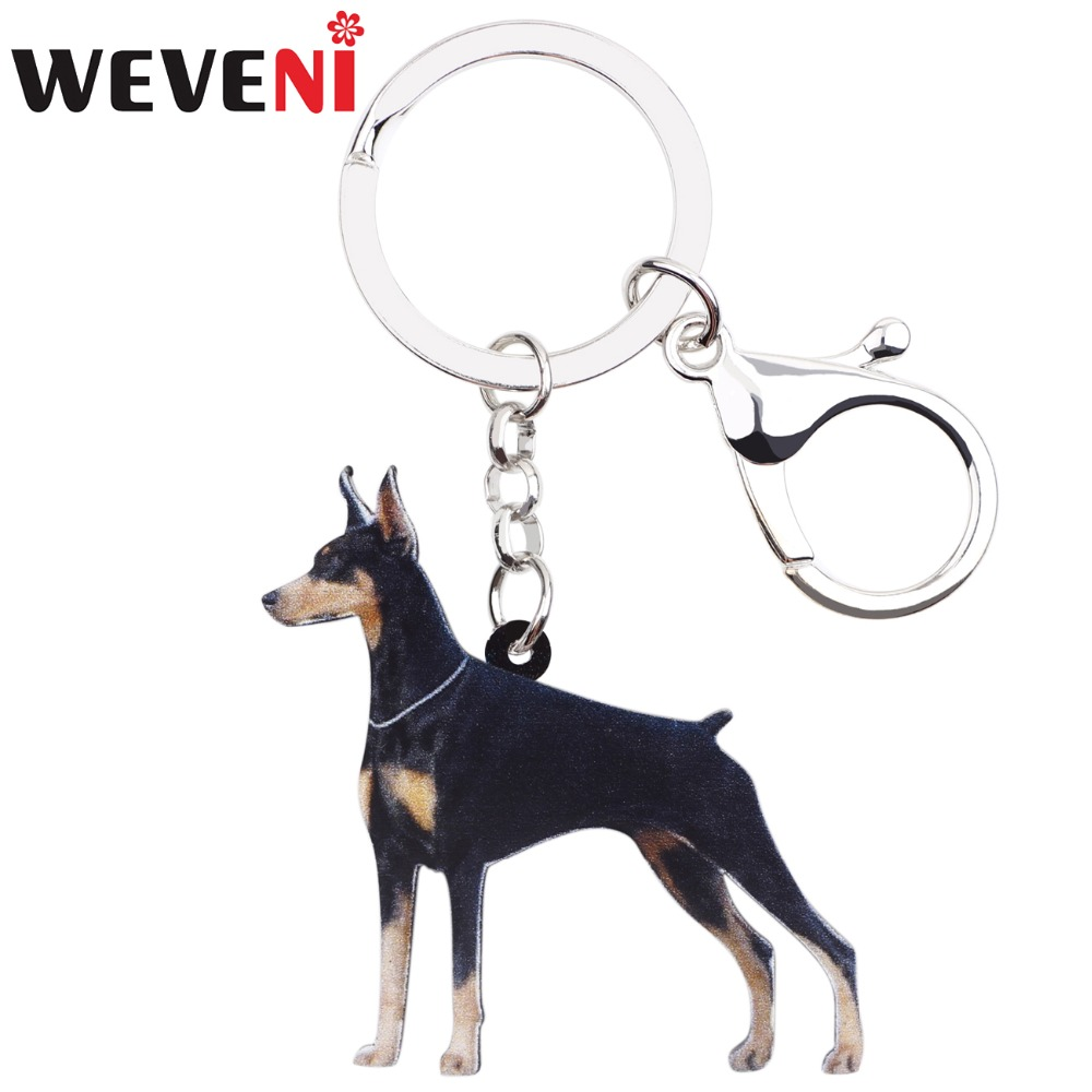 WEVENI Acrylic Anime Doberman Pinscher Dog Key Chains Ring Holder Women Girl Female Men Bag Party Car Charms Animal Jewelry Gift