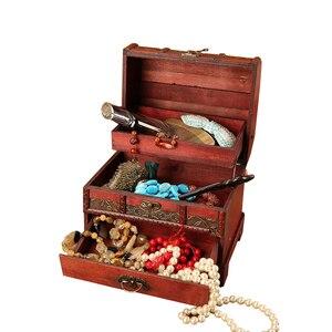 Image 2 - Large Vintage Metal Lock Trinket Jewelry Storage Box Organizer Handmade Decorative Wooden Treasure Case Chest Gift