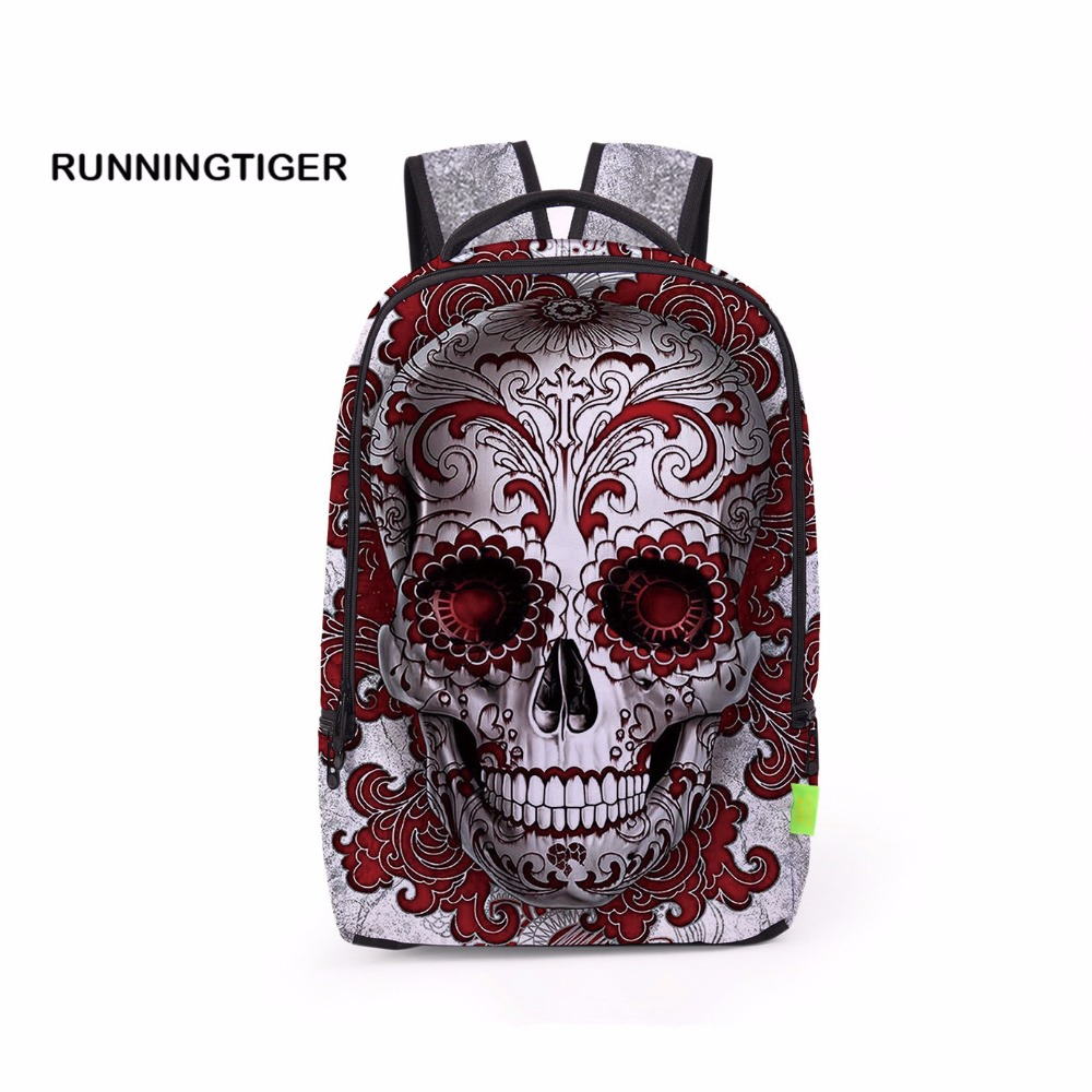 3D Printing Skull Backpack Mochila Feminina Backpacks Women Men Travel Bag School Bags For Young mochilas mujer 2017 Schoolbag polygon wolf 3d printing fashion women party bolsa feminina drawstring bag travel backpack mochila man s bags