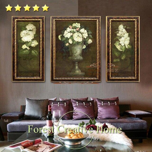 L'Europe Classique Fleurs Peinture À L'Huile Pour Canapé Mur Couloir