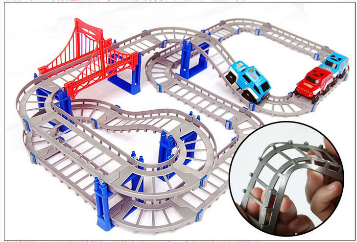 Купить с кэшбэком New Hot Sell 3D kids toys festive gifts Two-layer Spiral Track Roller Coaster Toy Electric Rail Car for Child Gift