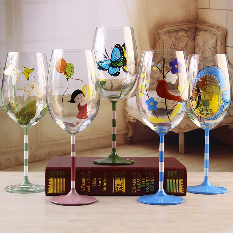 Popular painted wine glass buy cheap painted wine glass for Decorative wine glasses cheap