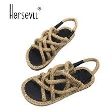 HersevLL rope sandals women patchwork straw flip flops cross-tied gladiator sandalias women lace up cutout slippers