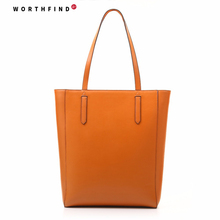 WORTHFIND Large Tote Shoulder Bag Basic Spacious Genuine Leather Original Designer Bag (Black,Brown,White,Red)