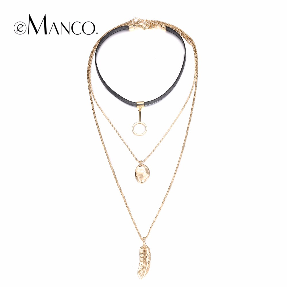 eManco Fashion Mash Up Multilayer Necklaces for Women Metal Long Pendants Necklace Charm Torques Accessories Jewelry