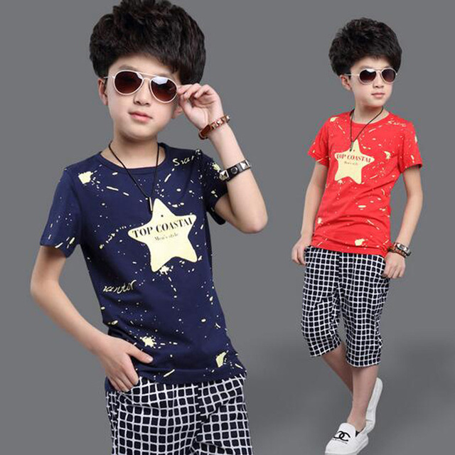 Summer Boys Tracksuit Casual Boy Clothing Set Handsome Kids Clothes Cool Big Boy Sport Suit Fashion Boys Clothes Set