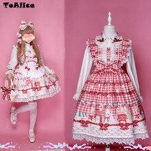 Cute Japanese Lolita Lace Dress Bunny Strawberry Bow Print 2017 Vestidos Sleeveless Suspender JSK Women Party Dresses Summer