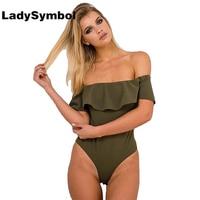 LadySymbol 2016 Ruffle Off Shoulder Knitted Bodycon Playsuits Leotard Bodysuit Back Zipper Slim Women Jumpsuits Romper