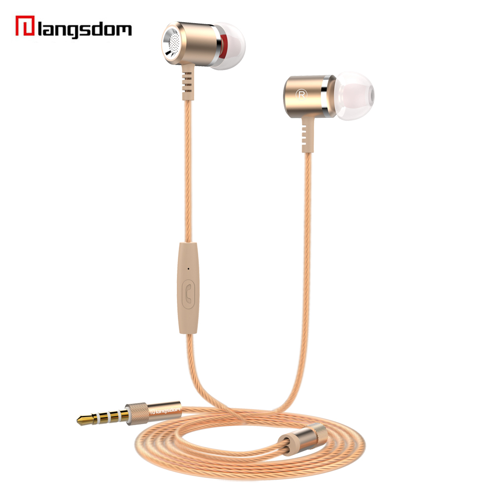 Langsdom In-Ear Earphone Stereo Bass Headset  3.5mm Metal Earbuds with Microphone For ipod iphone MP3 device free shipping new guitar shape r9030 bluetooth stereo earphone in ear long standby headset headphone with microphone earbuds for smartphones