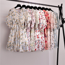 9 Styles V-neck Print Mini Dress Women Casual Korean Chic Flower Floral Chiffon Dress Summer Vintage S-XL Ladies Dresses Elegant