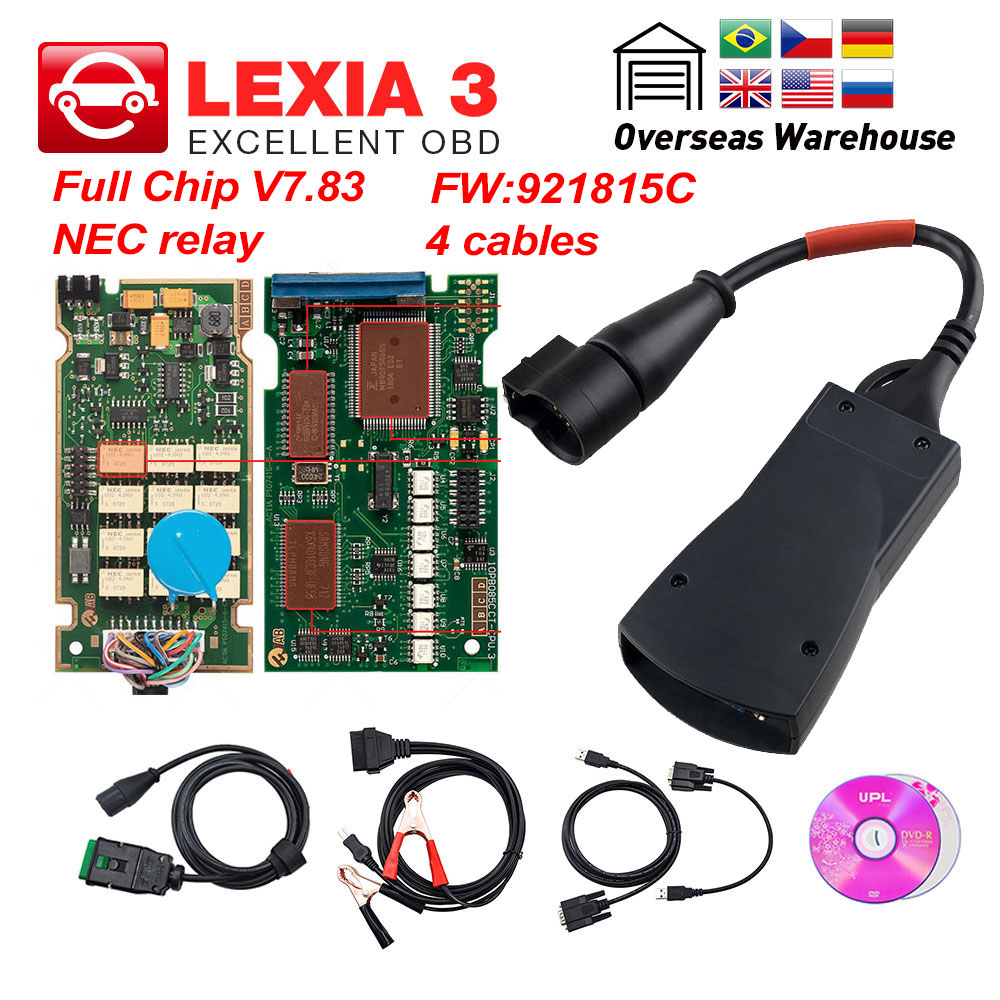 Lexia 3 PP2000 Full Chip Diagbox V7.83 with Firmware 921815C Lexia3 V48/V25 For Citroen for Peugeot OBDII diagnostic-tool(China)